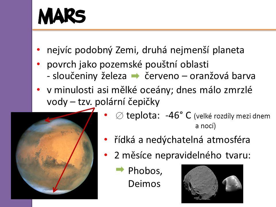 nejvíc podobný Zemi, druhá nejmenší planeta povrch jako pozemské pouštní oblasti - sloučeniny železa červeno – oranžová barva v minulosti asi mělké oc