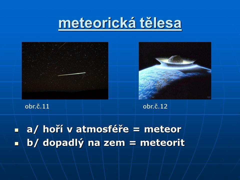 meteorická tělesa a/ hoří v atmosféře = meteor a/ hoří v atmosféře = meteor b/ dopadlý na zem = meteorit b/ dopadlý na zem = meteorit obr.č.11obr.č.12