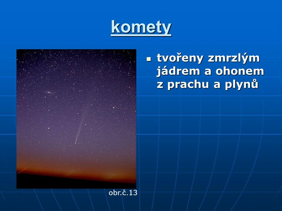 komety tvořeny zmrzlým jádrem a ohonem z prachu a plynů tvořeny zmrzlým jádrem a ohonem z prachu a plynů obr.č.13