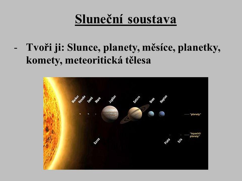 Sluneční soustava -Tvoři ji: Slunce, planety, měsíce, planetky, komety, meteoritická tělesa
