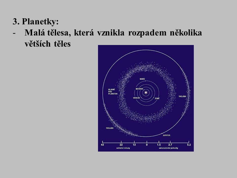 3. Planetky: -Malá tělesa, která vznikla rozpadem několika větších těles