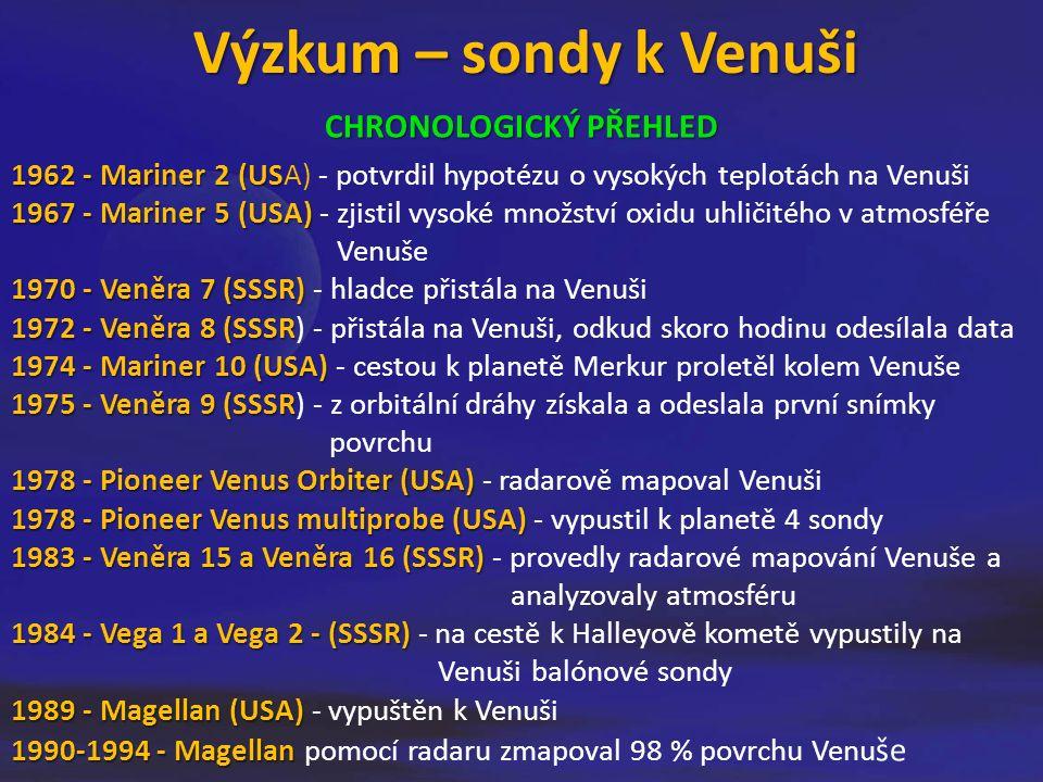 Výzkum – sondy k Venuši CHRONOLOGICKÝ PŘEHLED 1962 - Mariner 2 (US 1962 - Mariner 2 (USA) - potvrdil hypotézu o vysokých teplotách na Venuši 1967 - Mariner 5 (USA) 1967 - Mariner 5 (USA) - zjistil vysoké množství oxidu uhličitého v atmosféře Venuše 1970 - Veněra 7 (SSSR) 1970 - Veněra 7 (SSSR) - hladce přistála na Venuši 1972 - Veněra 8 (SSSR 1972 - Veněra 8 (SSSR) - přistála na Venuši, odkud skoro hodinu odesílala data 1974 - Mariner 10 (USA) 1974 - Mariner 10 (USA) - cestou k planetě Merkur proletěl kolem Venuše 1975 - Veněra 9 (SSSR 1975 - Veněra 9 (SSSR) - z orbitální dráhy získala a odeslala první snímky povrchu 1978 - Pioneer Venus Orbiter (USA) 1978 - Pioneer Venus Orbiter (USA) - radarově mapoval Venuši 1978 - Pioneer Venus multiprobe (USA) 1978 - Pioneer Venus multiprobe (USA) - vypustil k planetě 4 sondy 1983 - Veněra 15 a Veněra 16 (SSSR) 1983 - Veněra 15 a Veněra 16 (SSSR) - provedly radarové mapování Venuše a analyzovaly atmosféru 1984 - Vega 1 a Vega 2 - (SSSR) 1984 - Vega 1 a Vega 2 - (SSSR) - na cestě k Halleyově kometě vypustily na Venuši balónové sondy 1989 - Magellan (USA) 1989 - Magellan (USA) - vypuštěn k Venuši 1990-1994 - Magellan 1990-1994 - Magellan pomocí radaru zmapoval 98 % povrchu Venu še