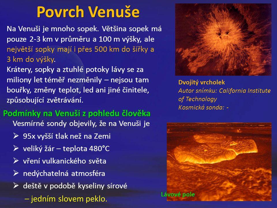 Povrch Venuše Vesmírné sondy objevily, že na Venuši je  95x vyšší tlak než na Zemi  veliký žár – teplota 480°C  vření vulkanického světa  nedýchatelná atmosféra  deště v podobě kyseliny sírové – jedním slovem peklo.