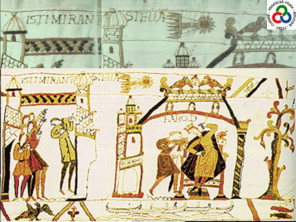 Halleyova kometa 1066Bitva u Hastings, králi Haroldovi předpovězena porážka a ztráta trůnu ve prospěch vévody Williama