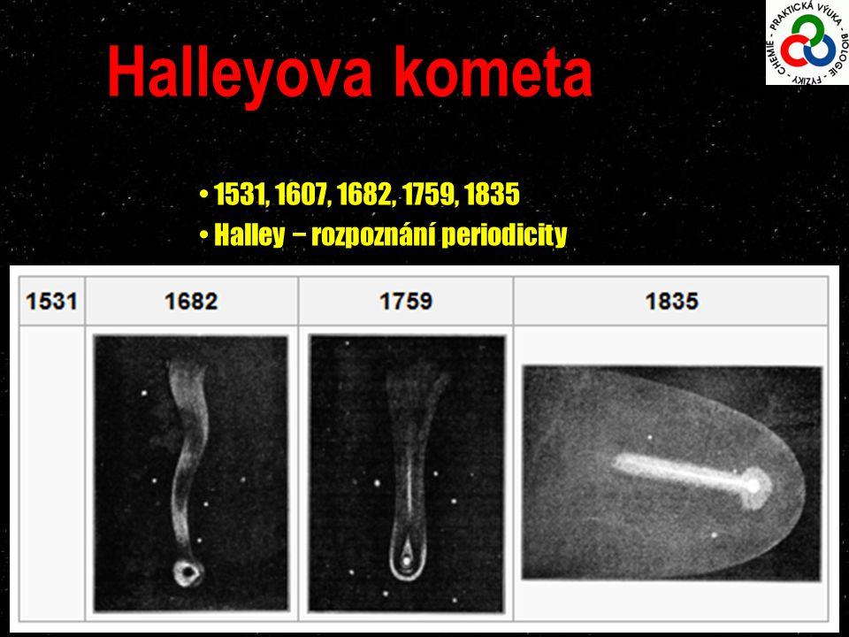 Halleyova kometa 1531, 1607, 1682, 1759, 1835 Halley − rozpoznání periodicity