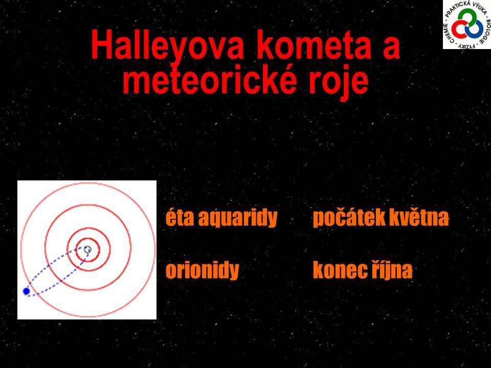 Halleyova kometa a meteorické roje éta aquaridy počátek května orionidykonec října