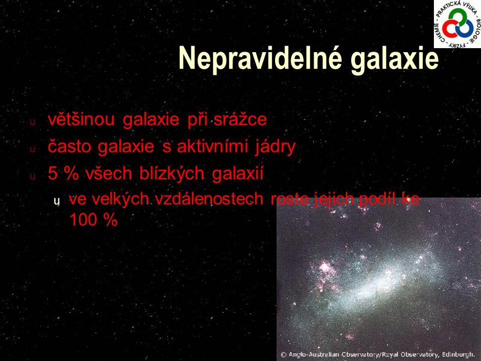 u většinou galaxie při srážce u často galaxie s aktivními jádry u 5 % všech blízkých galaxií u ve velkých vzdálenostech roste jejich podíl ke 100 %