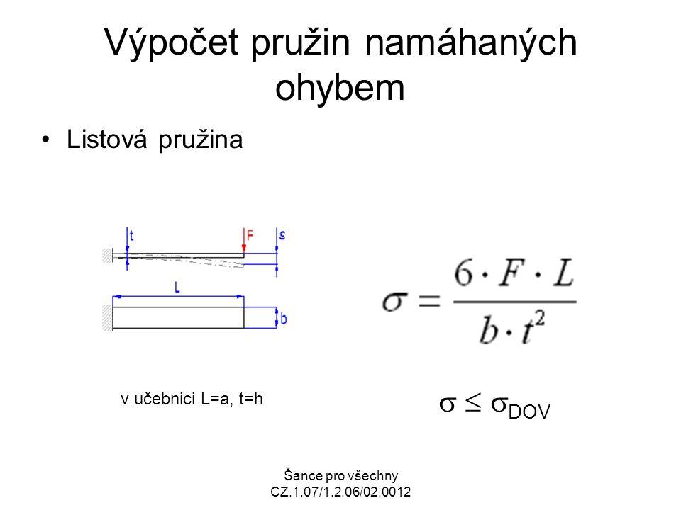 Výpočet pružin namáhaných ohybem Listová pružina v učebnici L=a, t=h    DOV
