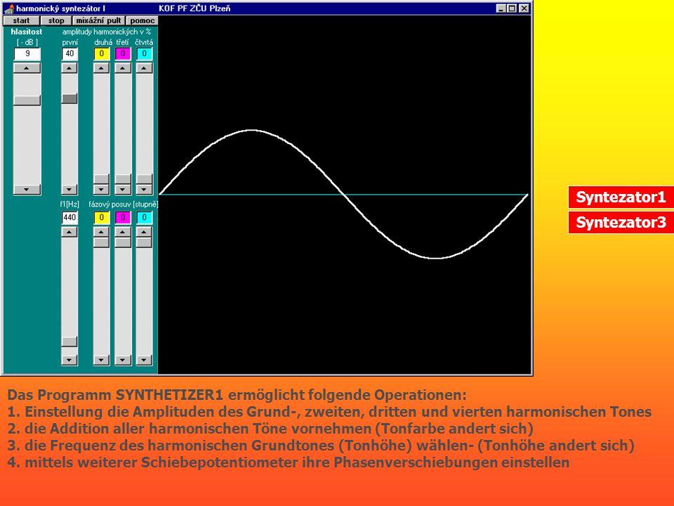 Das Programm SYNTHETIZER1 ermöglicht folgende Operationen: 1. Einstellung die Amplituden des Grund-, zweiten, dritten und vierten harmonischen Tones 2