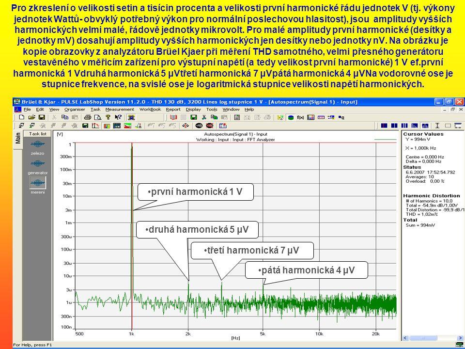 Pro zkreslení o velikosti setin a tisícin procenta a velikosti první harmonické řádu jednotek V (tj. výkony jednotek Wattů- obvyklý potřebný výkon pro