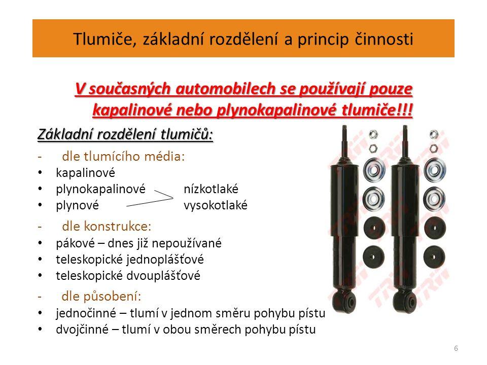 Tlumiče, základní rozdělení a princip činnosti V současných automobilech se používají pouze kapalinové nebo plynokapalinové tlumiče!!.