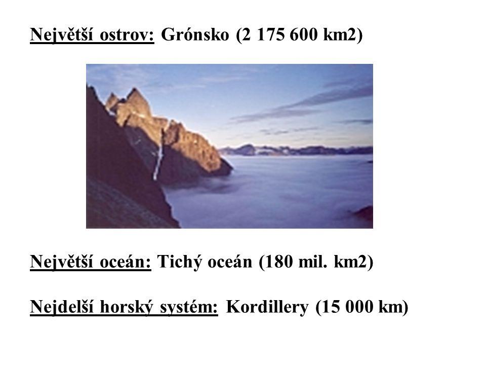 Největší ostrov: Grónsko (2 175 600 km2) Největší oceán: Tichý oceán (180 mil.