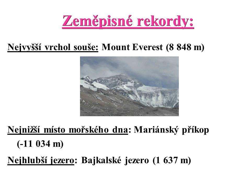 Zeměpisné rekordy: Nejvyšší vrchol souše: Mount Everest (8 848 m) Nejnižší místo mořského dna: Mariánský příkop (-11 034 m) Nejhlubší jezero: Bajkalské jezero (1 637 m)