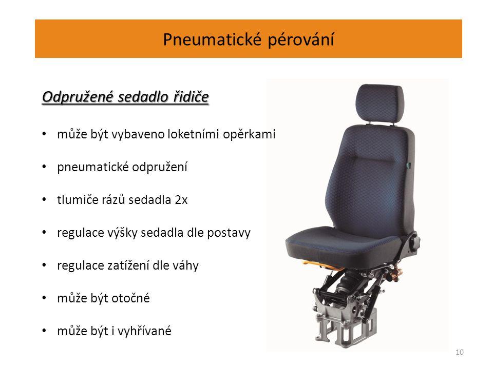 Pneumatické pérování 10 Odpružené sedadlo řidiče může být vybaveno loketními opěrkami pneumatické odpružení tlumiče rázů sedadla 2x regulace výšky sedadla dle postavy regulace zatížení dle váhy může být otočné může být i vyhřívané