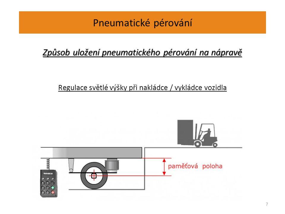 Pneumatické pérování Způsob uložení pneumatického pérování na nápravě Regulace světlé výšky při nakládce / vykládce vozidla 7