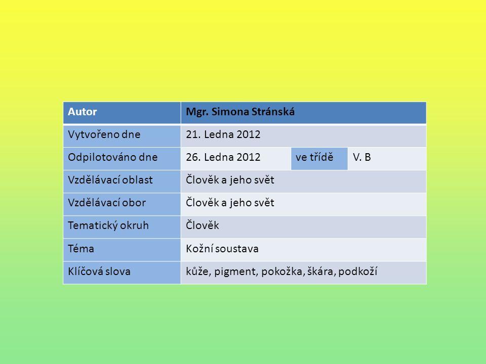 AutorMgr. Simona Stránská Vytvořeno dne21. Ledna 2012 Odpilotováno dne26.