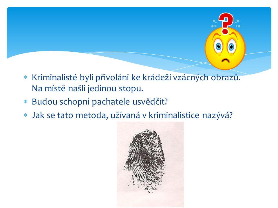  Kriminalisté byli přivoláni ke krádeži vzácných obrazů. Na místě našli jedinou stopu.  Budou schopni pachatele usvědčit?  Jak se tato metoda, užív