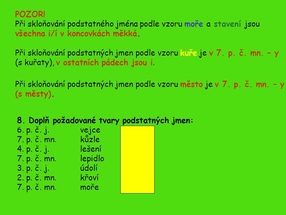 8. Doplň požadované tvary podstatných jmen: 6. p.