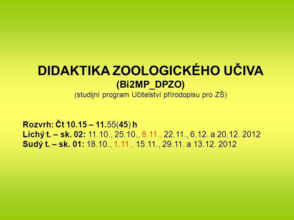 DIDAKTIKA ZOOLOGICKÉHO UČIVA (Bi2MP_DPZO) (studijní program Učitelství přírodopisu pro ZŠ) Rozvrh: Čt 10.15 – 11.55(45) h Lichý t.