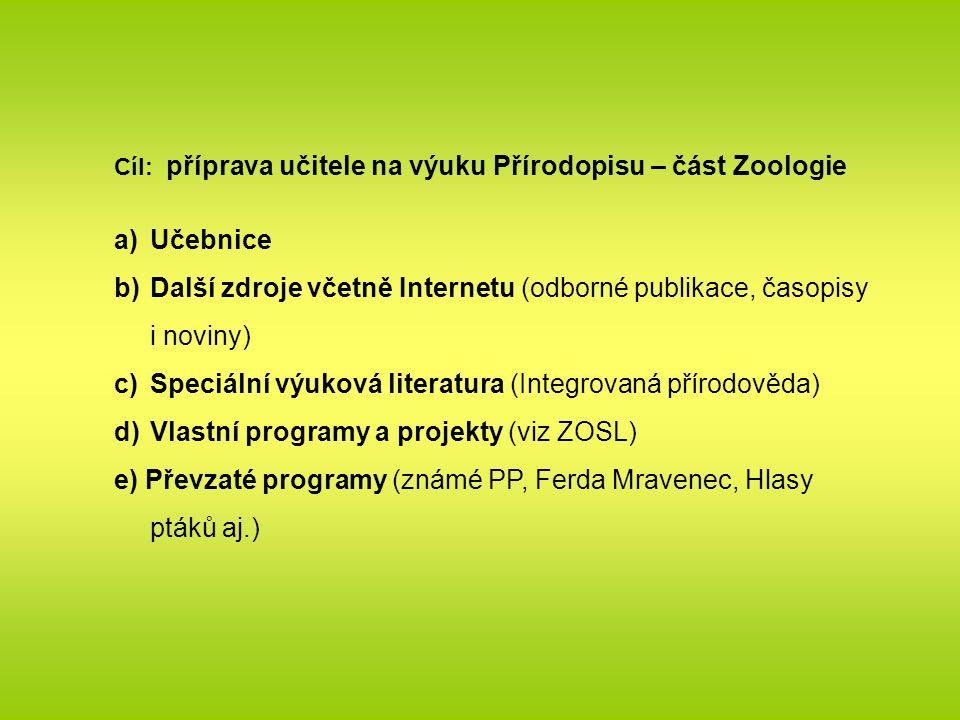 Cíl: příprava učitele na výuku Přírodopisu – část Zoologie a)Učebnice b)Další zdroje včetně Internetu (odborné publikace, časopisy i noviny) c)Speciální výuková literatura (Integrovaná přírodověda) d)Vlastní programy a projekty (viz ZOSL) e) Převzaté programy (známé PP, Ferda Mravenec, Hlasy ptáků aj.)
