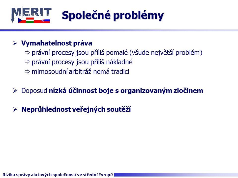 Společné problémy  Vymahatelnost práva  právní procesy jsou příliš pomalé (všude největší problém)  právní procesy jsou příliš nákladné  mimosoudní arbitráž nemá tradici  Doposud nízká účinnost boje s organizovaným zločinem  Neprůhlednost veřejných soutěží Rizika správy akciových společností ve střední Evropě
