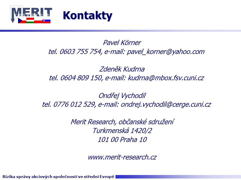 Kontakty Pavel Körner tel.0603 755 754, e-mail: pavel_korner@yahoo.com Zdeněk Kudrna tel.