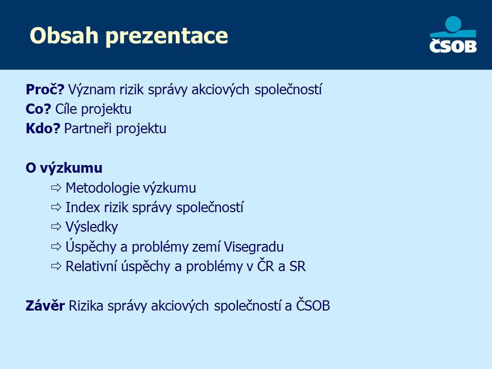 Obsah prezentace Proč. Význam rizik správy akciových společností Co.