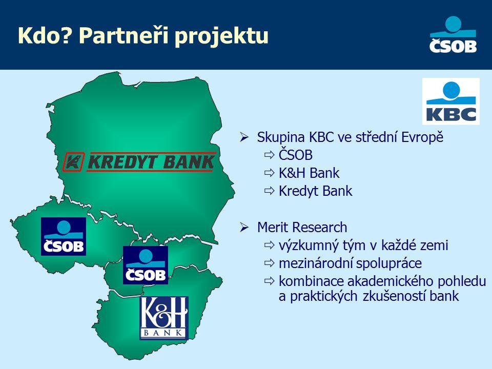 Kdo? Partneři projektu  Skupina KBC ve střední Evropě  ČSOB  K&H Bank  Kredyt Bank  Merit Research  výzkumný tým v každé zemi  mezinárodní spol