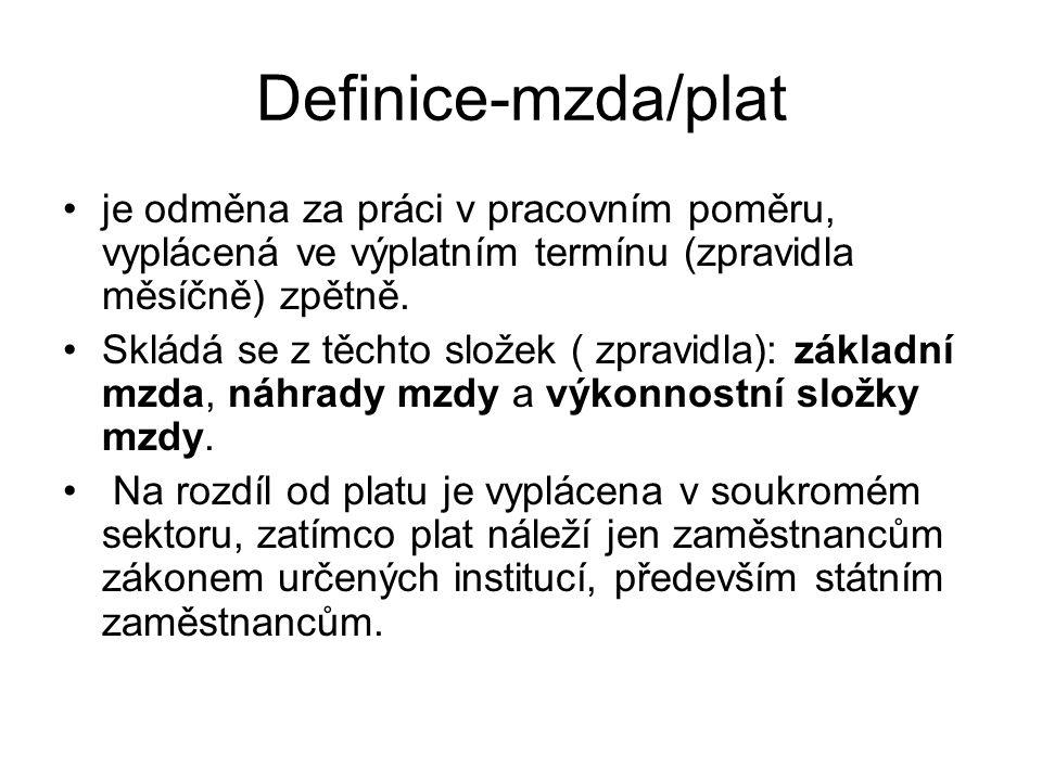 Složky mzdy Pevná složka - paušální velikost mzdy.