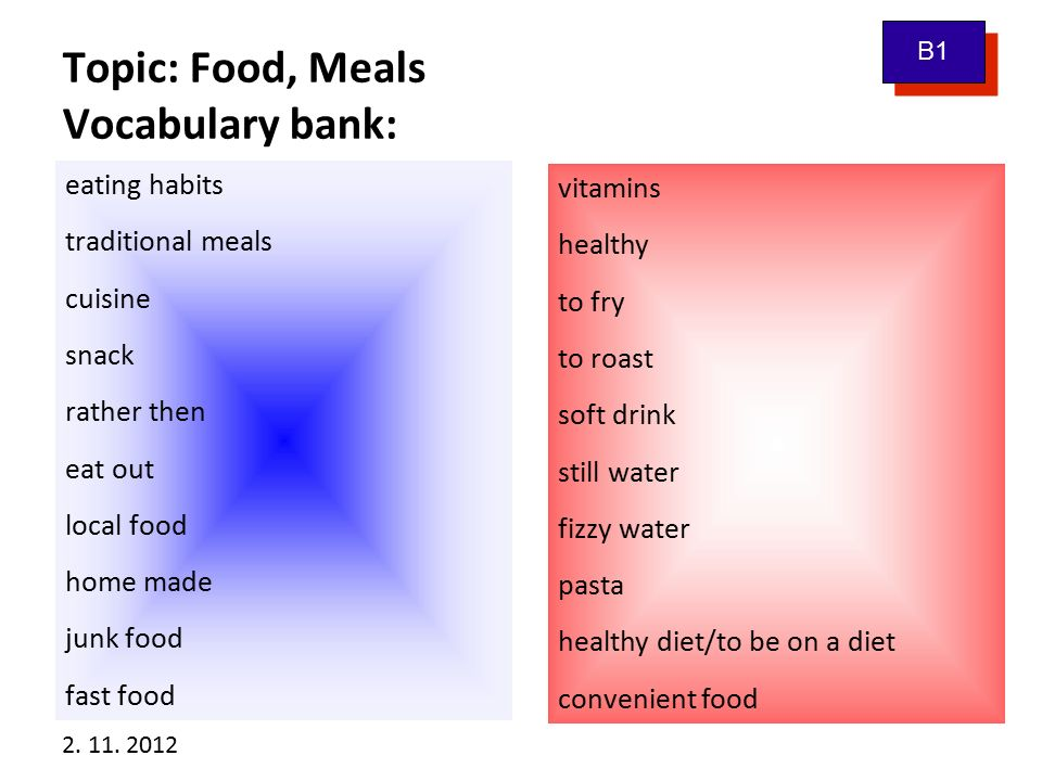 2. 11. 2012 Topic: Food, Meals Vocabulary bank: eating habits traditional meals cuisine snack rather then eat out local food home made junk food fast