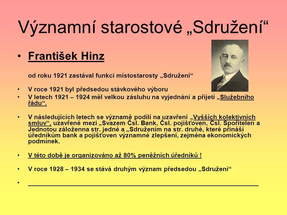 """Významní starostové """"Sdružení František Hinz od roku 1921 zastával funkci místostarosty """"Sdružení V roce 1921 byl předsedou stávkového výboru V letech 1921 – 1924 měl velkou zásluhu na vyjednání a přijetí """"Služebního řádu ."""