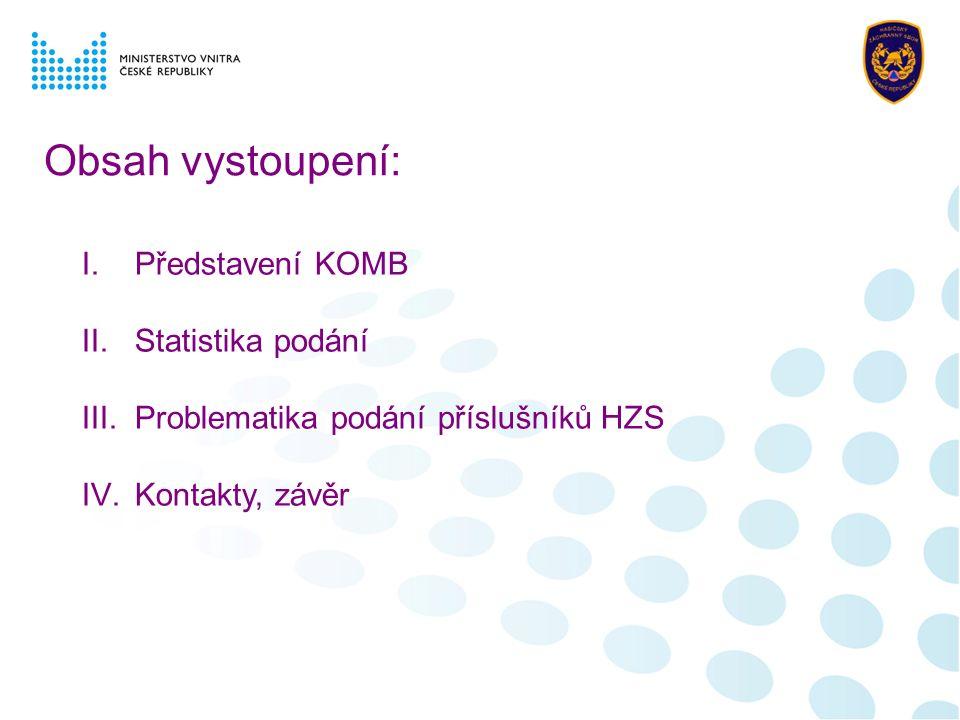 Obsah vystoupení: I.Představení KOMB II.Statistika podání III.Problematika podání příslušníků HZS IV.Kontakty, závěr