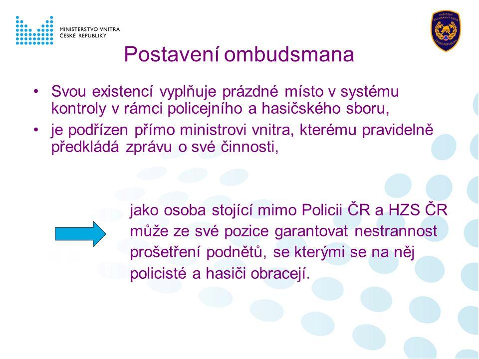 Postavení ombudsmana Svou existencí vyplňuje prázdné místo v systému kontroly v rámci policejního a hasičského sboru, je podřízen přímo ministrovi vni