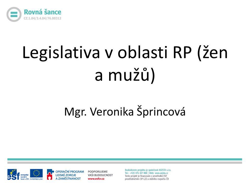 Legislativa v oblasti RP (žen a mužů) Mgr. Veronika Šprincová
