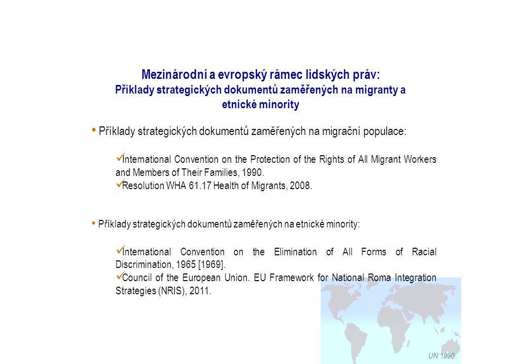 Mezinárodní a evropský rámec lidských práv: Příklady strategických dokumentů zaměřených na migranty a etnické minority UN 1990.