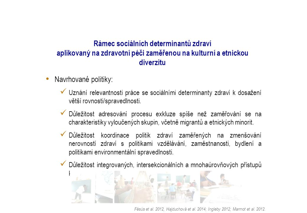 Rámec sociálních determinantů zdraví aplikovaný na zdravotní péči zaměřenou na kulturní a etnickou diverzitu Navrhované politiky: Uznání relevantnosti práce se sociálními determinanty zdraví k dosažení větší rovnosti/spravedlnosti.