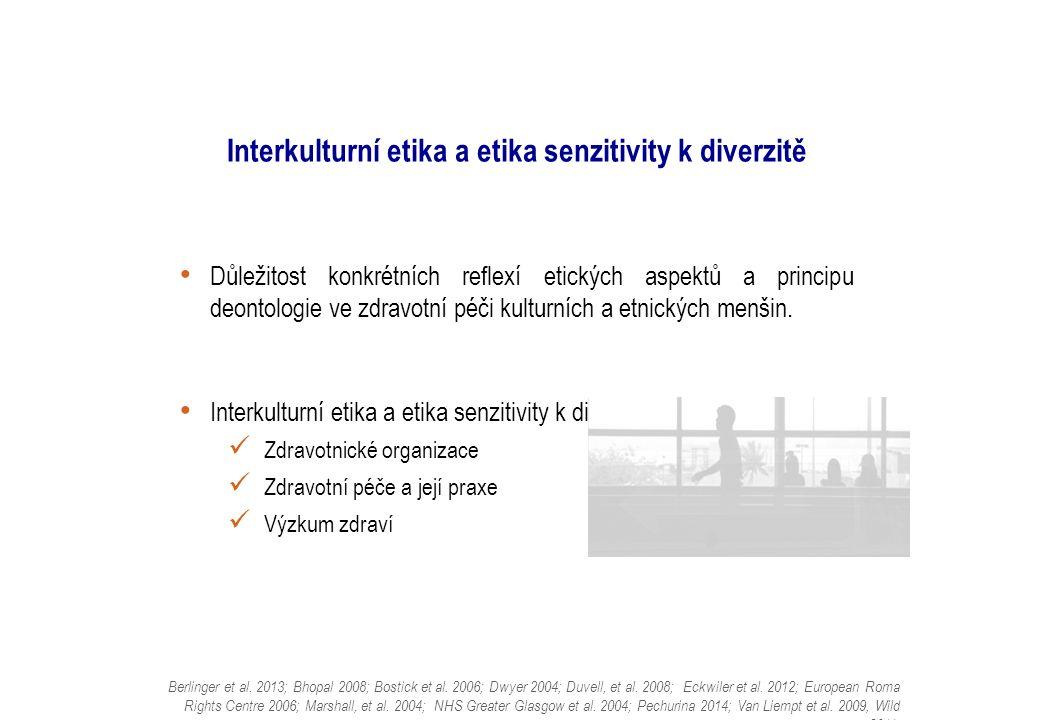 Interkulturní etika a etika senzitivity k diverzitě Důležitost konkrétních reflexí etických aspektů a principu deontologie ve zdravotní péči kulturních a etnických menšin.