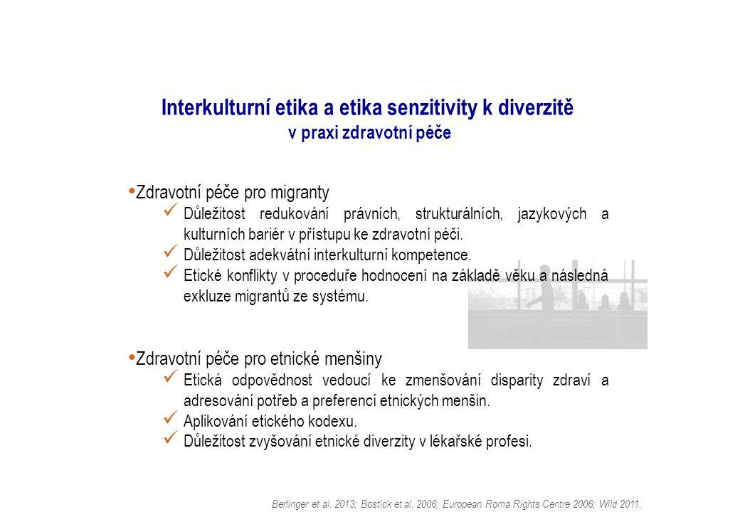 Interkulturní etika a etika senzitivity k diverzitě v praxi zdravotní péče Zdravotní péče pro migranty Důležitost redukování právních, strukturálních, jazykových a kulturních bariér v přístupu ke zdravotní péči.