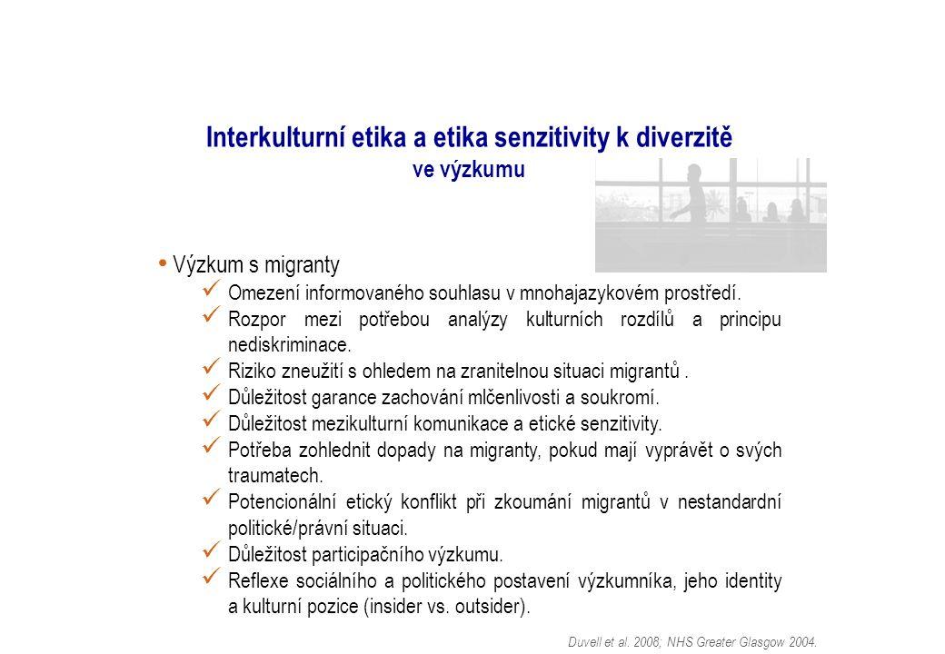 Interkulturní etika a etika senzitivity k diverzitě ve výzkumu Výzkum s migranty Omezení informovaného souhlasu v mnohajazykovém prostředí.