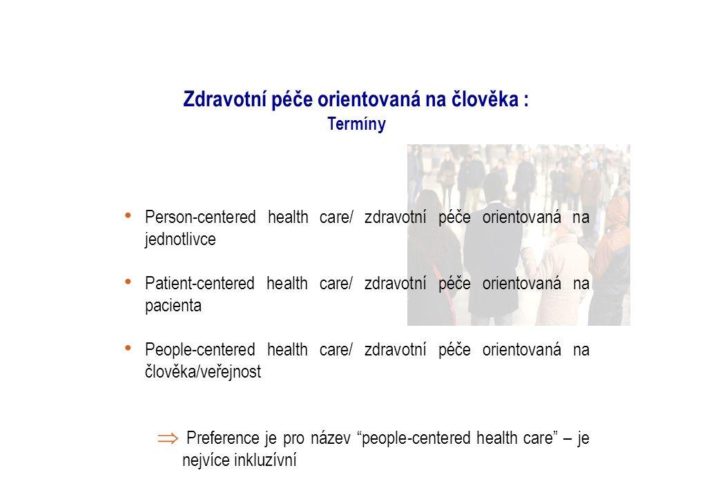 Zdravotní péče orientovaná na člověka : Termíny Person-centered health care/ zdravotní péče orientovaná na jednotlivce Patient-centered health care/ zdravotní péče orientovaná na pacienta People-centered health care/ zdravotní péče orientovaná na člověka/veřejnost  Preference je pro název people-centered health care – je nejvíce inkluzívní