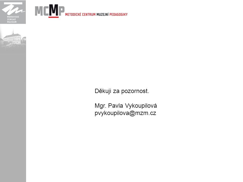 Děkuji za pozornost. Mgr. Pavla Vykoupilová pvykoupilova@mzm.cz