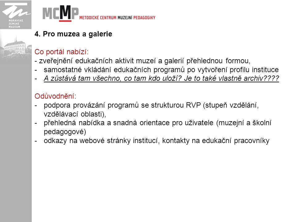4. Pro muzea a galerie Co portál nabízí: - zveřejnění edukačních aktivit muzeí a galerií přehlednou formou, -samostatné vkládání edukačních programů p