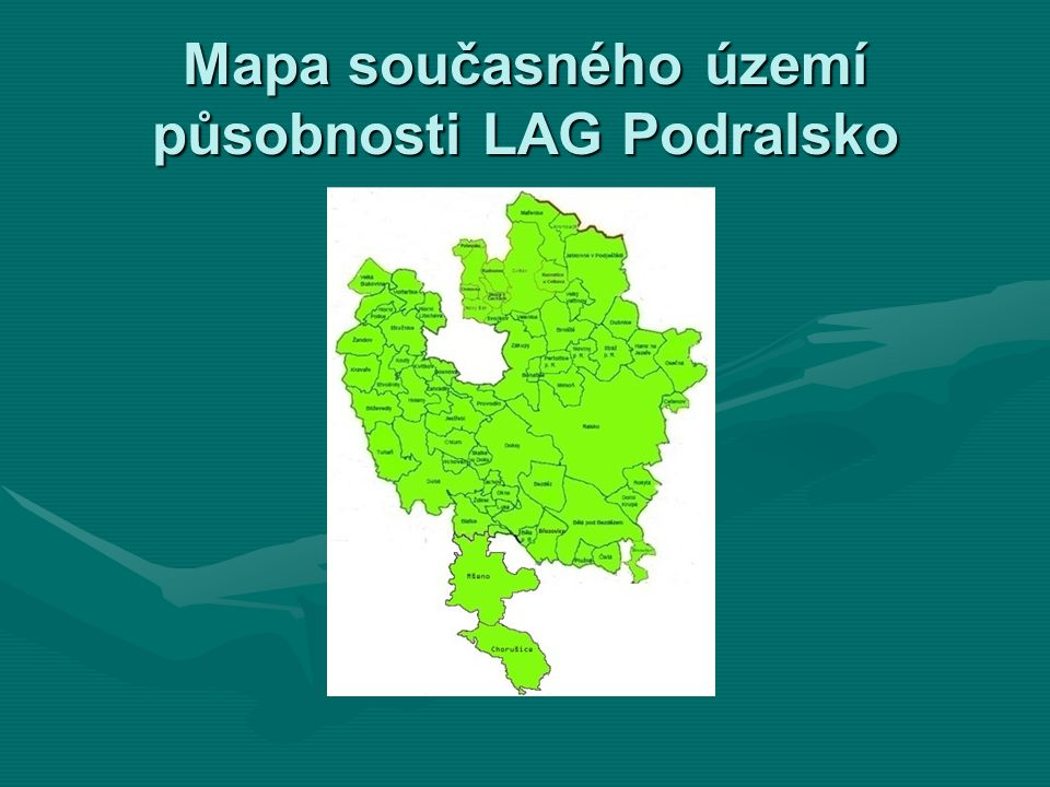 Mapa současného území působnosti LAG Podralsko