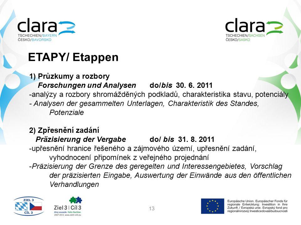 ETAPY/ Etappen 13 1) Průzkumy a rozbory Forschungen und Analysendo/bis 30. 6. 2011 -analýzy a rozbory shromážděných podkladů, charakteristika stavu, p