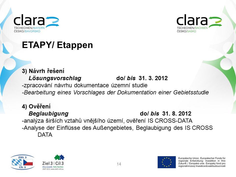 ETAPY/ Etappen 14 3) Návrh řešení Lösungsvorschlag do/ bis 31. 3. 2012 -zpracování návrhu dokumentace územní studie -Bearbeitung eines Vorschlages der
