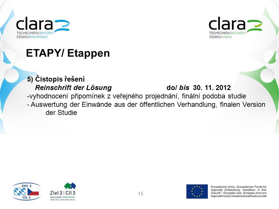 ETAPY/ Etappen 15 5) Čistopis řešení Reinschrift der Lösung do/ bis 30. 11. 2012 -vyhodnocení připomínek z veřejného projednání, finální podoba studie