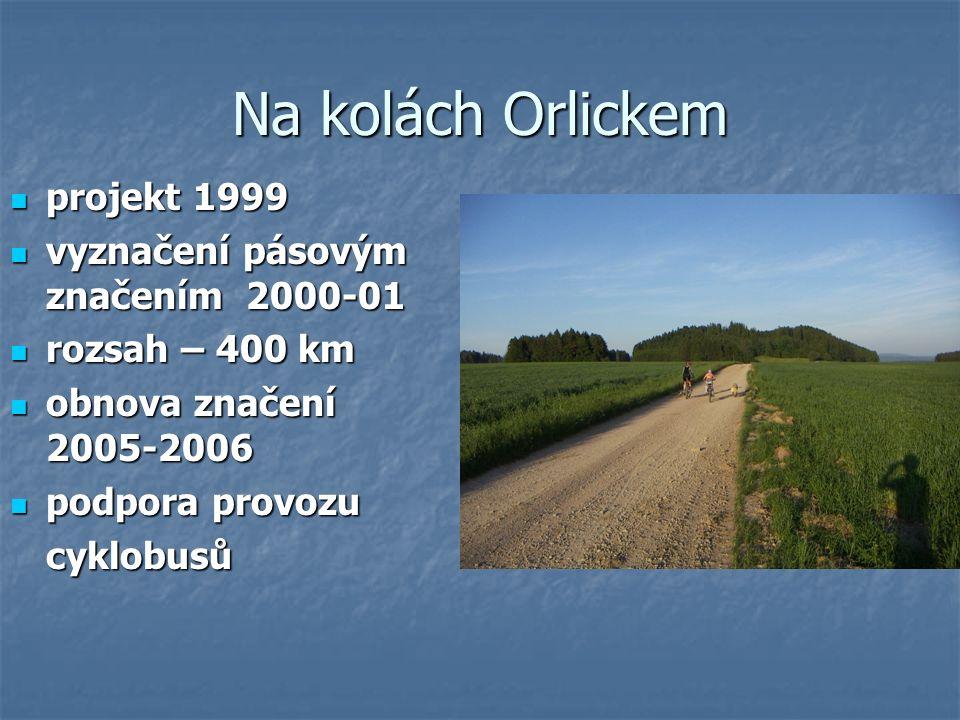 Na kolách Orlickem projekt 1999 projekt 1999 vyznačení pásovým značením 2000-01 vyznačení pásovým značením 2000-01 rozsah – 400 km rozsah – 400 km obnova značení 2005-2006 obnova značení 2005-2006 podpora provozu podpora provozucyklobusů
