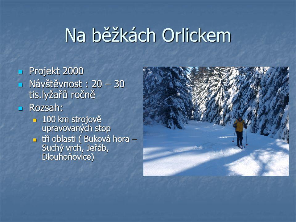 Na běžkách Orlickem Projekt 2000 Projekt 2000 Návštěvnost : 20 – 30 tis.lyžařů ročně Návštěvnost : 20 – 30 tis.lyžařů ročně Rozsah: Rozsah: 100 km strojově upravovaných stop 100 km strojově upravovaných stop tři oblasti ( Buková hora – Suchý vrch, Jeřáb, Dlouhoňovice) tři oblasti ( Buková hora – Suchý vrch, Jeřáb, Dlouhoňovice)