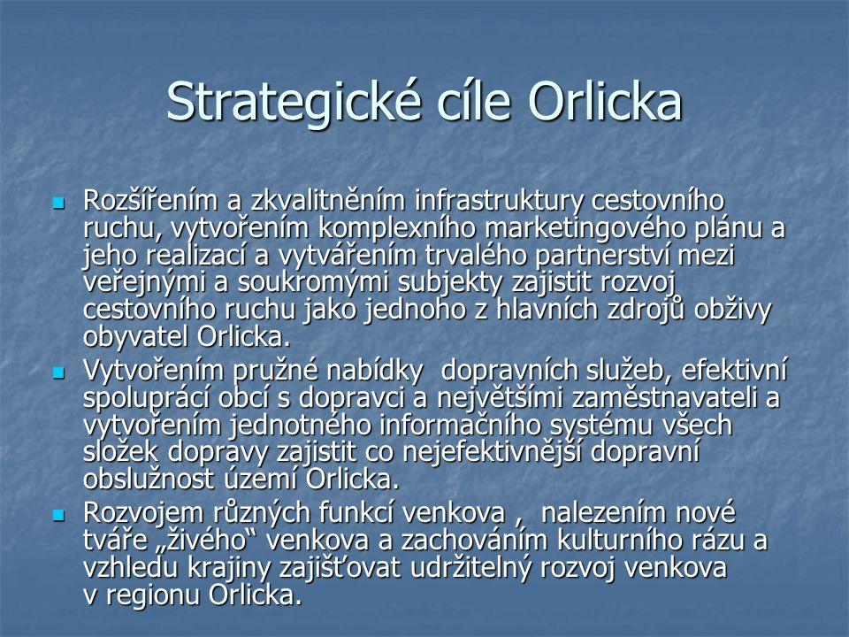 Strategické cíle Orlicka Rozšířením a zkvalitněním infrastruktury cestovního ruchu, vytvořením komplexního marketingového plánu a jeho realizací a vytvářením trvalého partnerství mezi veřejnými a soukromými subjekty zajistit rozvoj cestovního ruchu jako jednoho z hlavních zdrojů obživy obyvatel Orlicka.