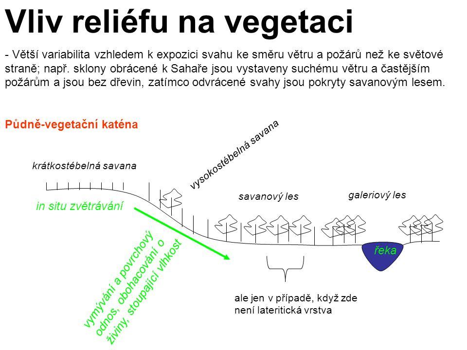 Vliv reliéfu na vegetaci - Větší variabilita vzhledem k expozici svahu ke směru větru a požárů než ke světové straně; např.